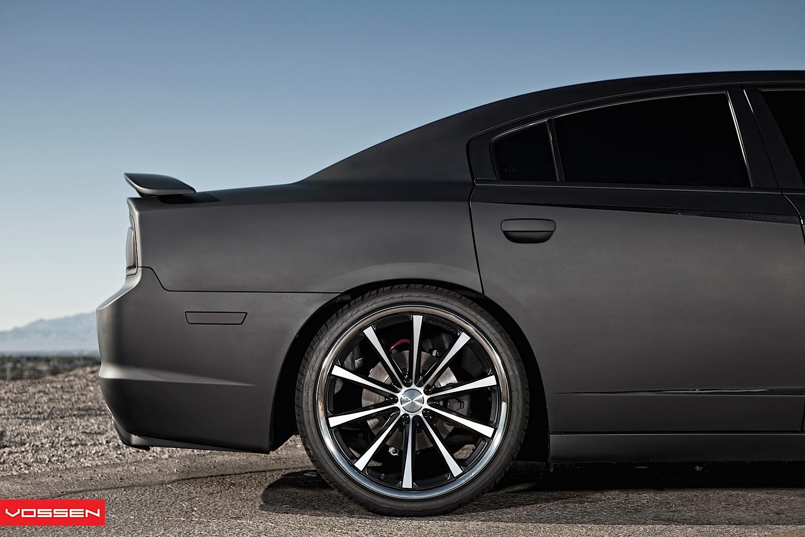 Dodge Charger Gets Matte Black Wrap and Vossen Wheels ...