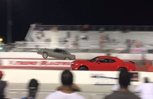 Dodge Demon vs. Ford Mustang Drag Race Ends in a Crash ...