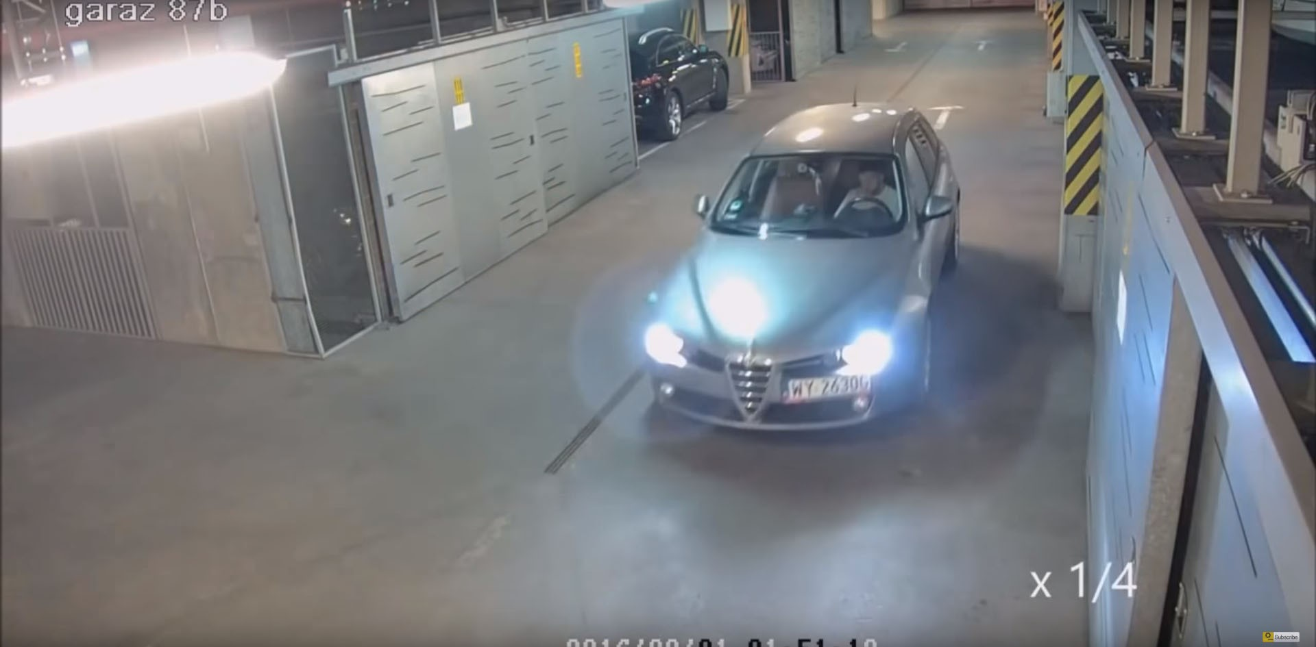 drunk man has a hard time missing any wall as he exists a parking drunk driver exiting parking garage