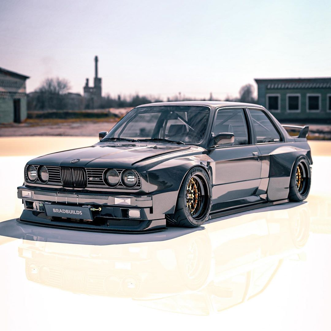 E30 Bmw M3 Black Bruiser Rendering Has The Necessary Widebody Muscle Autoevolution