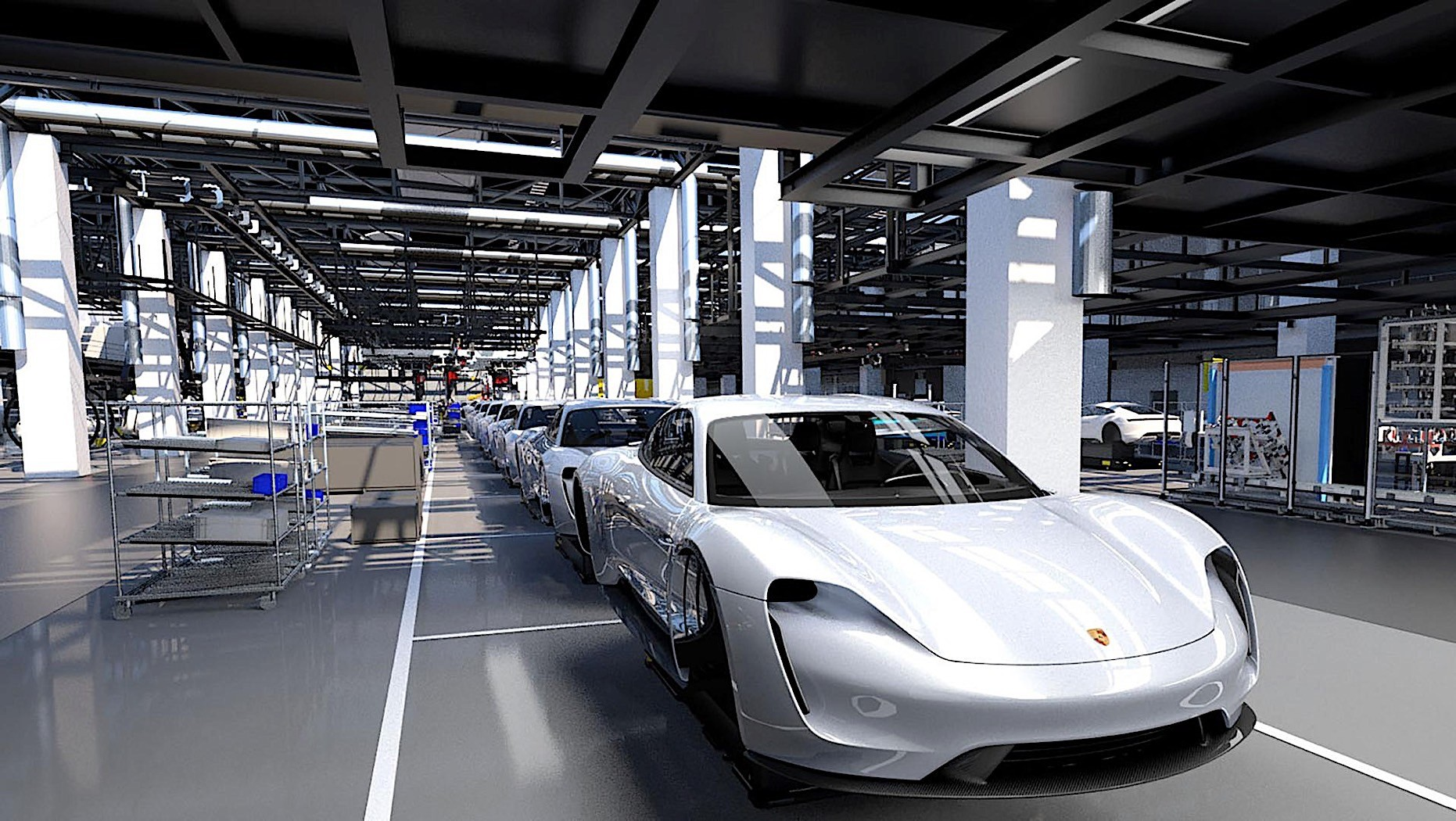 Electric Porsche Taycan Shows Up On The Production Line In