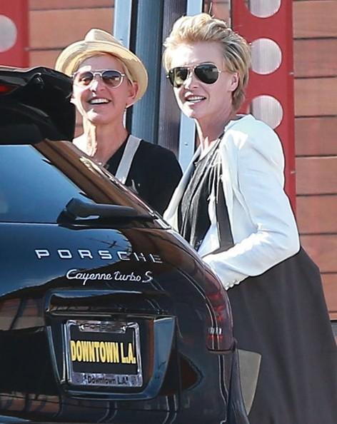 Ellen DeGeneres Drives New Porsche Cayenne Celebrating
