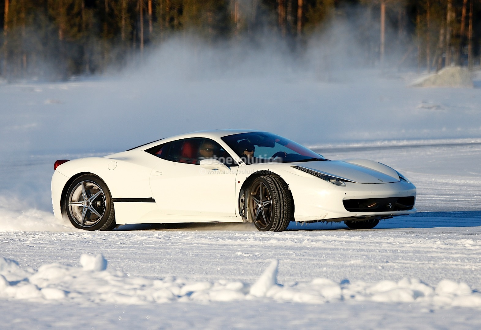 ferrari 458 replacement spied drifting on ice autoevolution