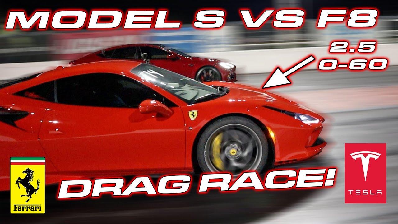 Ferrari F8 Tributo Vs Tesla Model S 1 4 Mile Drag Race Ends With Huge Tease Autoevolution