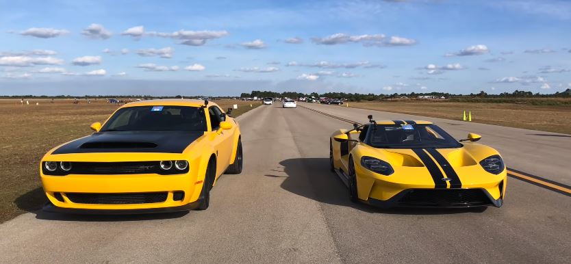 Ford Gt Drag Races Dodge Demon