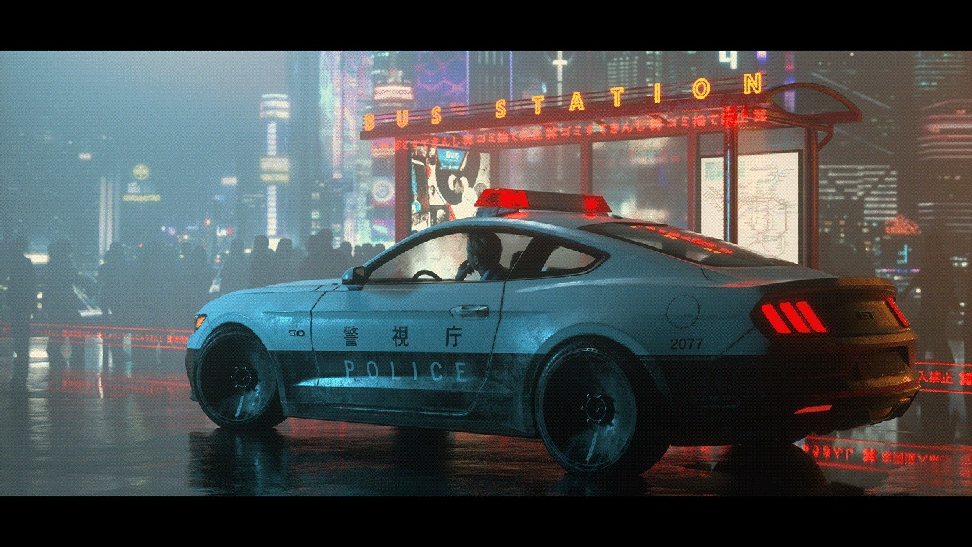 """Ford Mustang """"Cyberpunk 2077"""" Rendered With Japanese ..."""