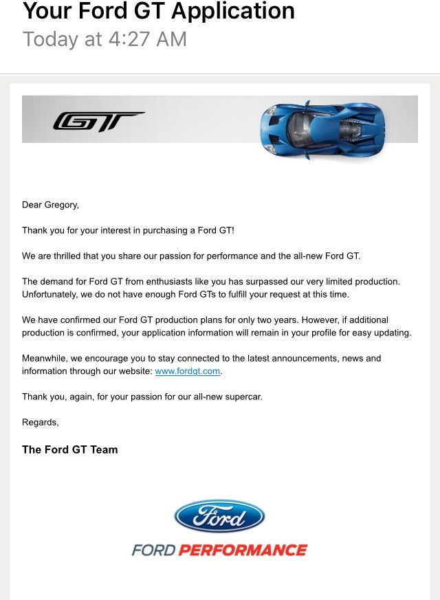 Ford Gt Application Response Letter