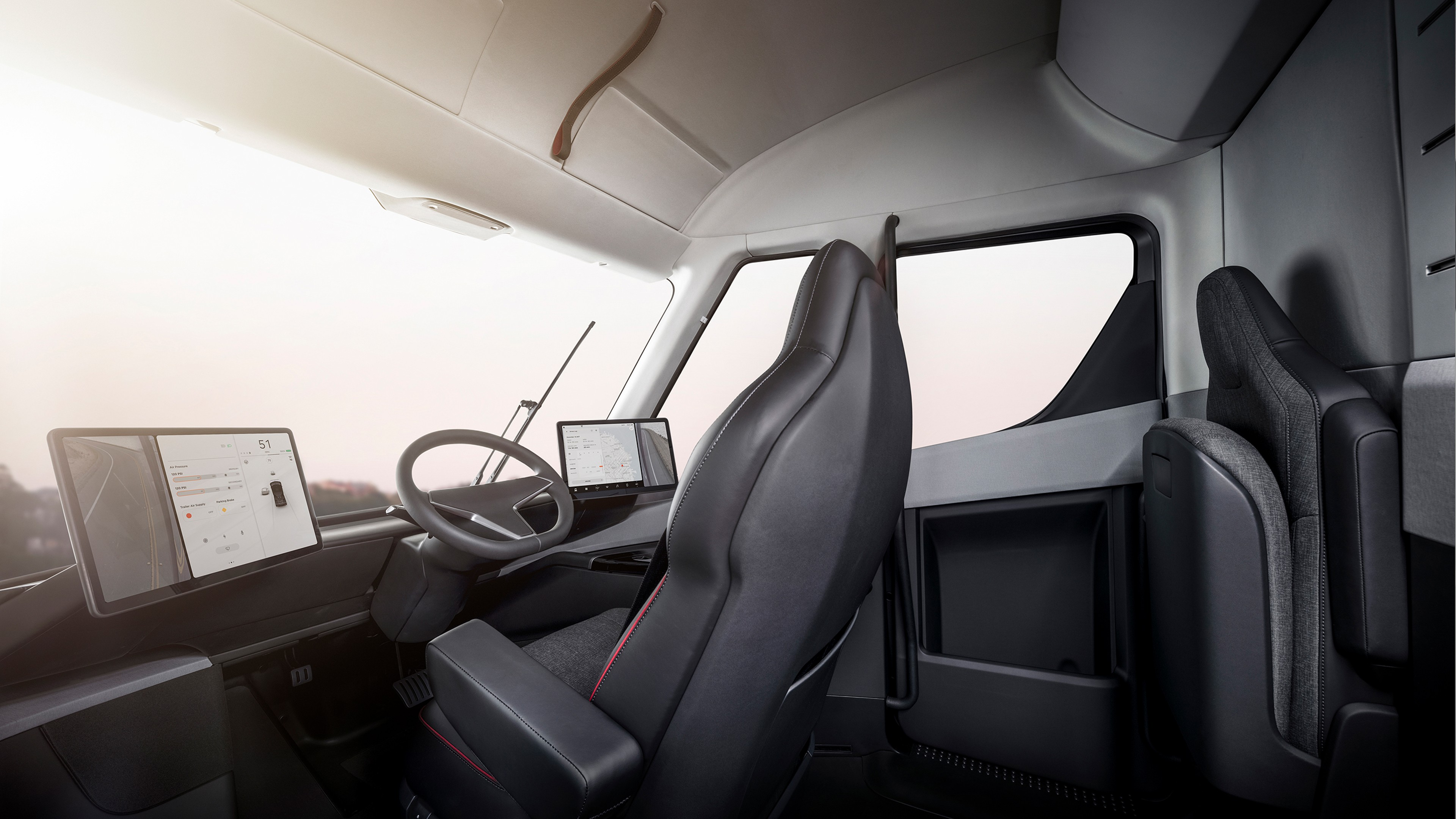 first tesla semi interior video shows the life of a 2020 trucker autoevolution. Black Bedroom Furniture Sets. Home Design Ideas