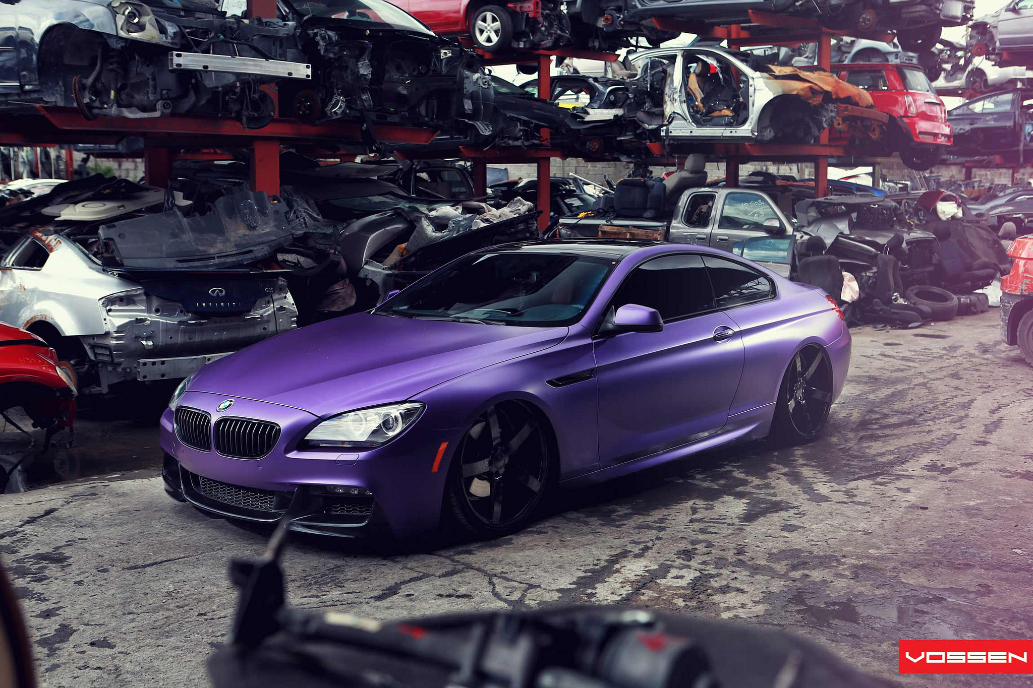 Frozen Purple Bmw Series Coupe Does Photo Shoot In Scrapyard Photo Gallery