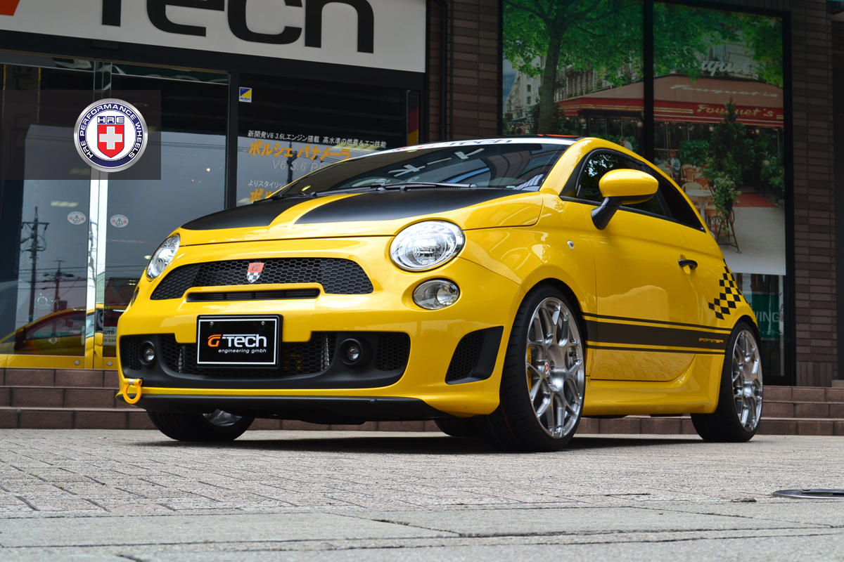 fiat 500 abarth yellow with G Tech Fiat 500 Sportster On Hre Wheels Photo Gallery 67343 on Abarth 500 additionally Fiat 124 Spider 2 likewise Fiat Cinquecento Sporting Abarth as well Fiat Abarth 595 Griff In Die Fahrdynamik Trickkiste 130 further A 500 In All Colors.