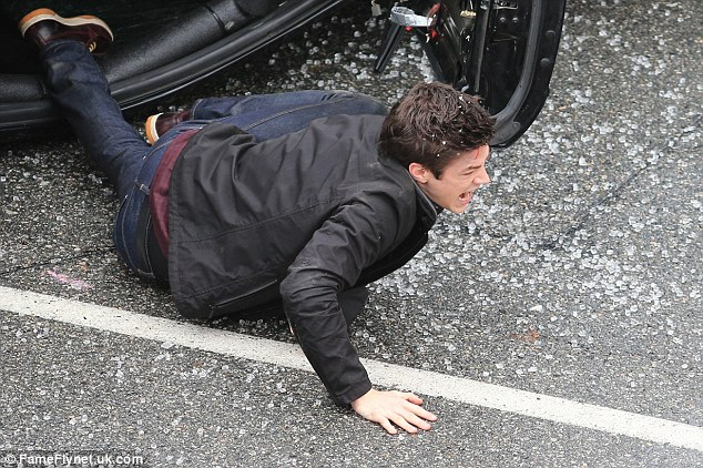 Glee Star Grant Gustin Films Car Crash With Mustang