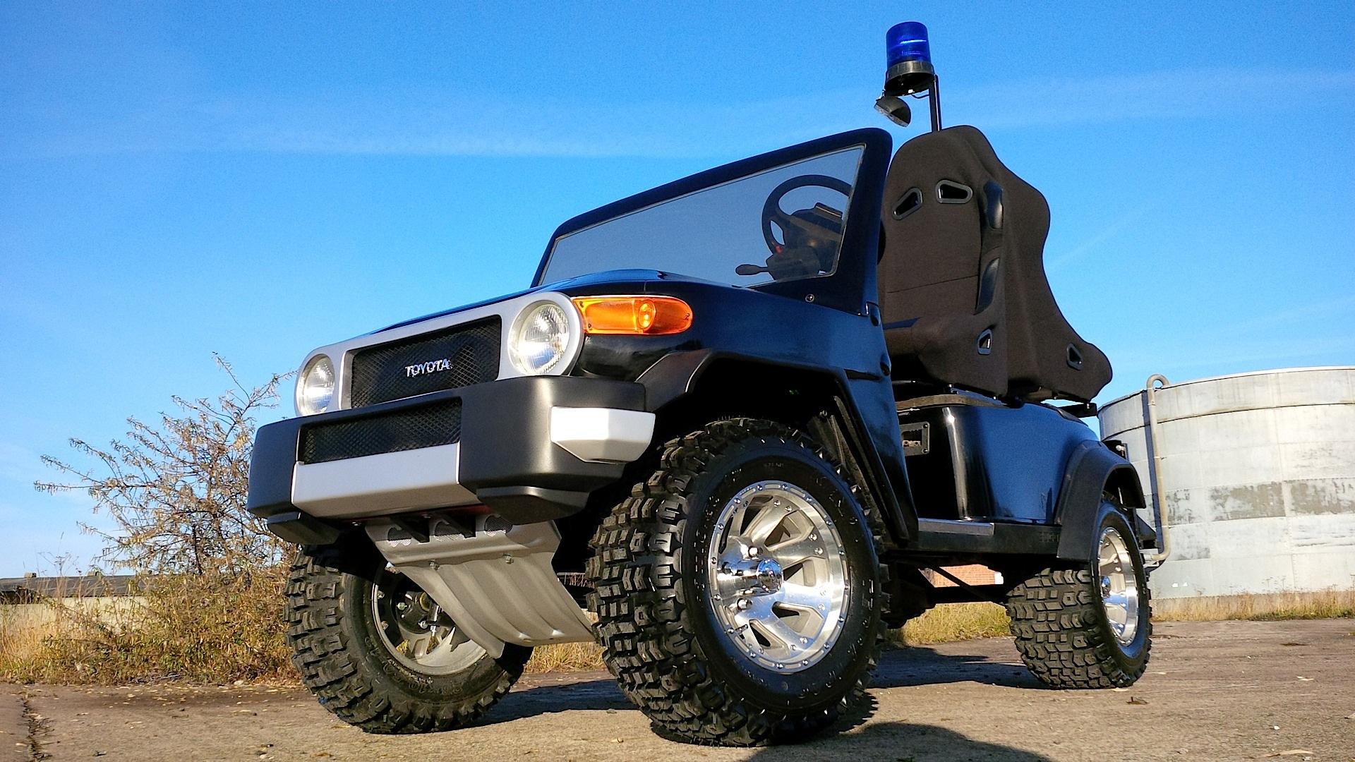 Golf Car Turns Into Mini Toyota FJ Cruiser Football ...