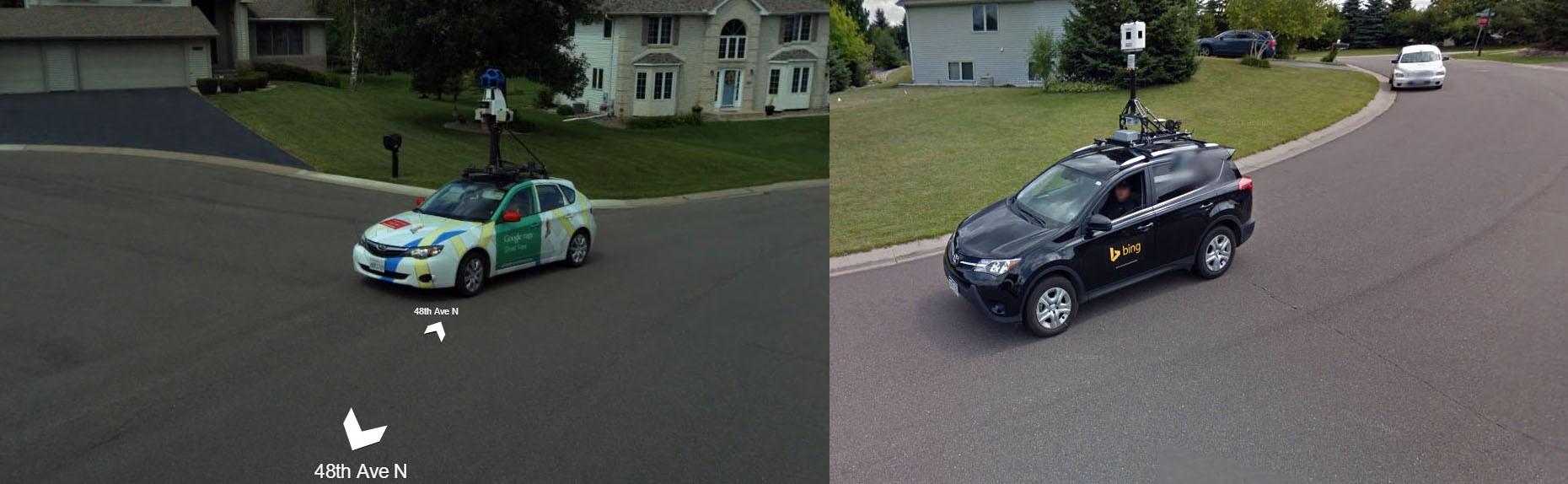 bing maps and google maps cars photographing each other