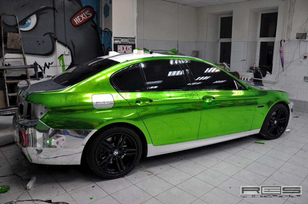 Green Chrome Vinyl Wrap on Chrome Audi R8 Spyder