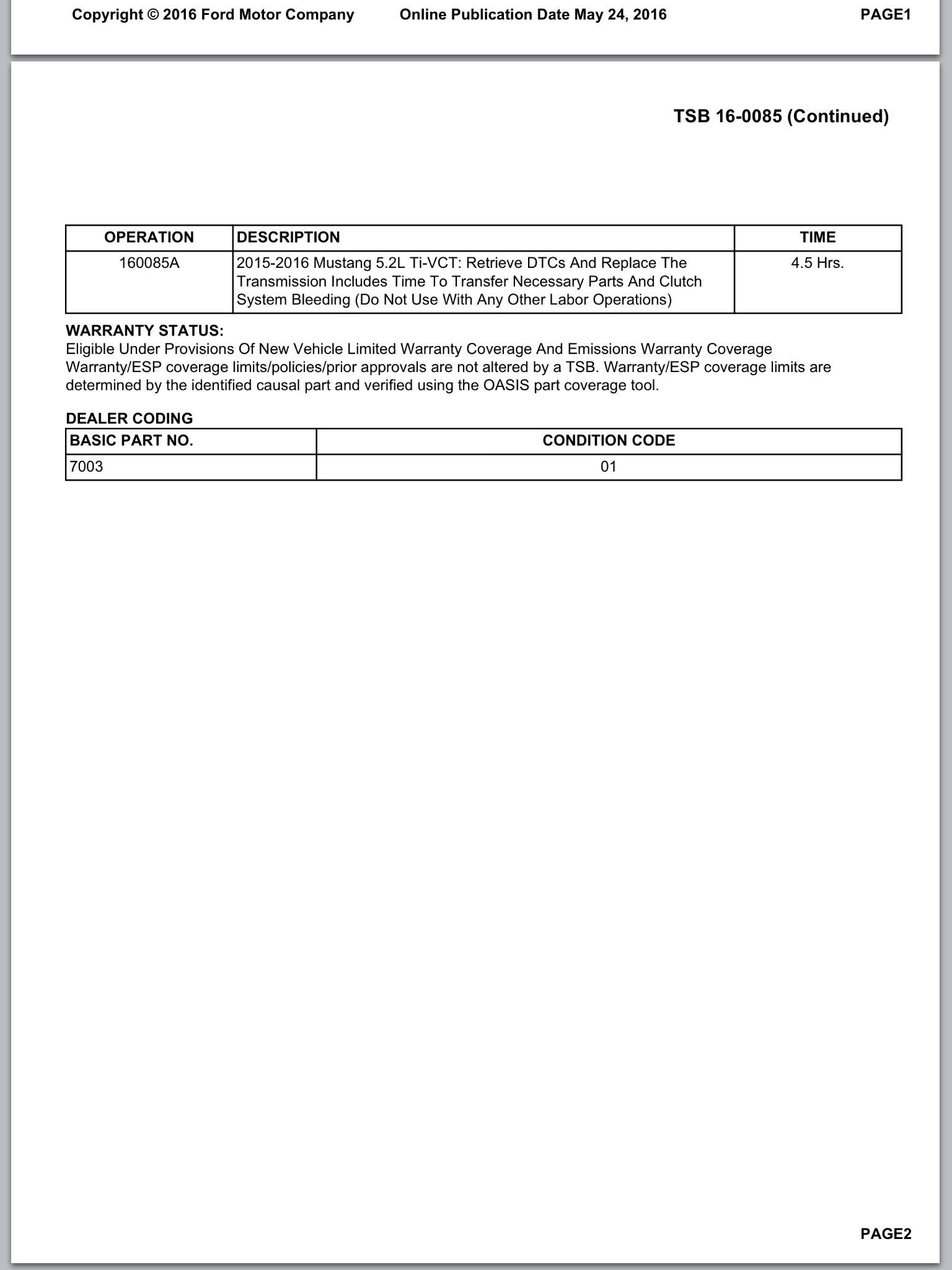 ... Technical Service Bulletin 16-0085 for Ford Mustang Shelby GT350 ...