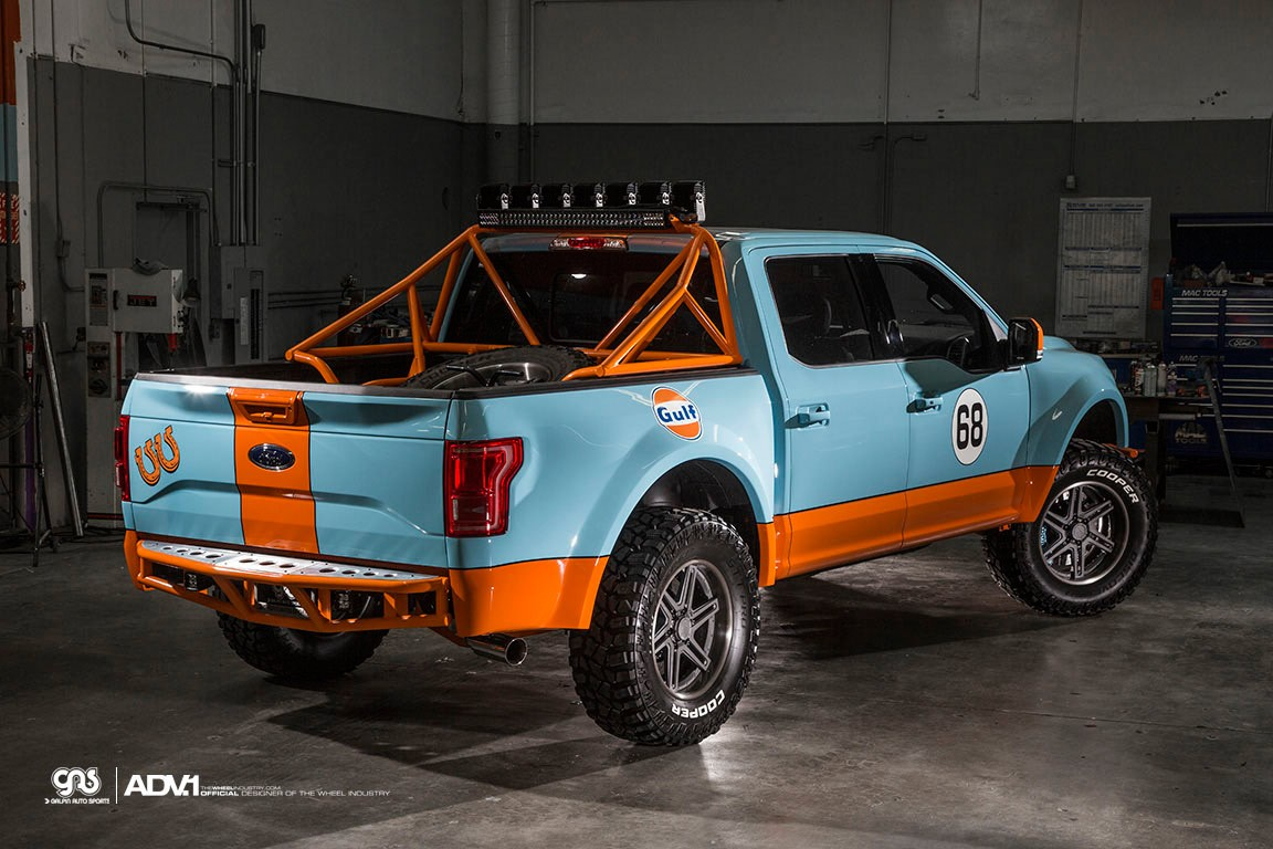 gulf ford f150 has gulf livery and adv1 wheels