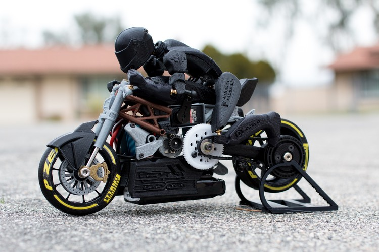 rc bike drag motorcycle 3d printed concept ducati articulated bikes riders draxter motorcycles rider moving print printing autoevolution brett turnage