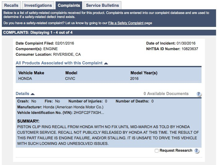 2016 Honda Civic Complaint On NHTSA Website ...