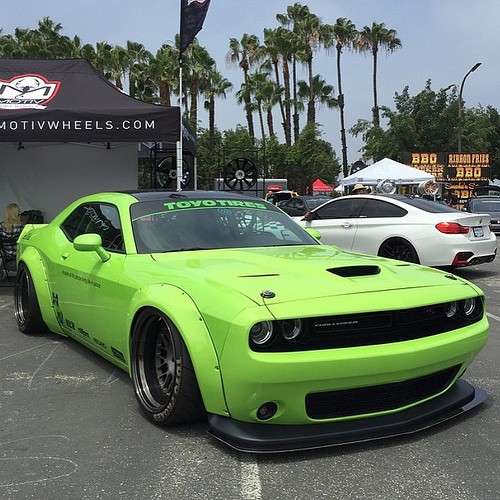 Challenger Scat Pack >> Hulk Green Dodge Challenger Scat Pack Gets Liberty Walk Body Kit - autoevolution