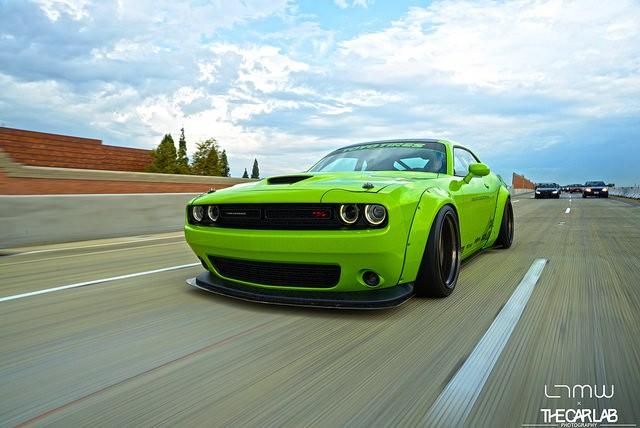 2016 Dodge Avenger >> Hulk Green Dodge Challenger Scat Pack Gets Liberty Walk Body Kit - autoevolution