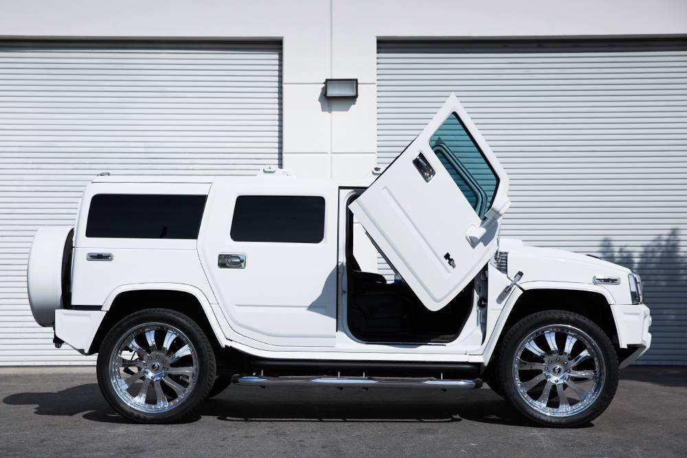 Hummer H2 Gets Lambo Doors And Chrome Forgiato Wheels