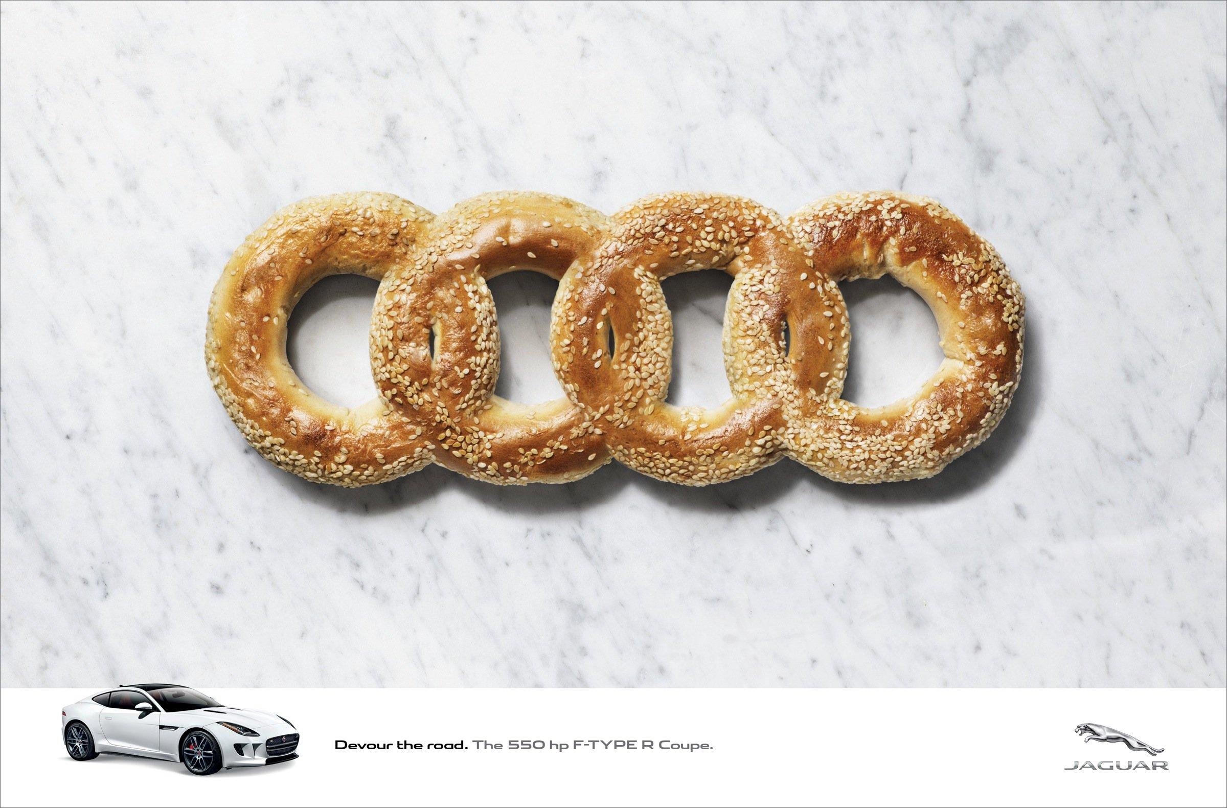 Jaguar Devours German Rivals Logos With Creative Print Ads