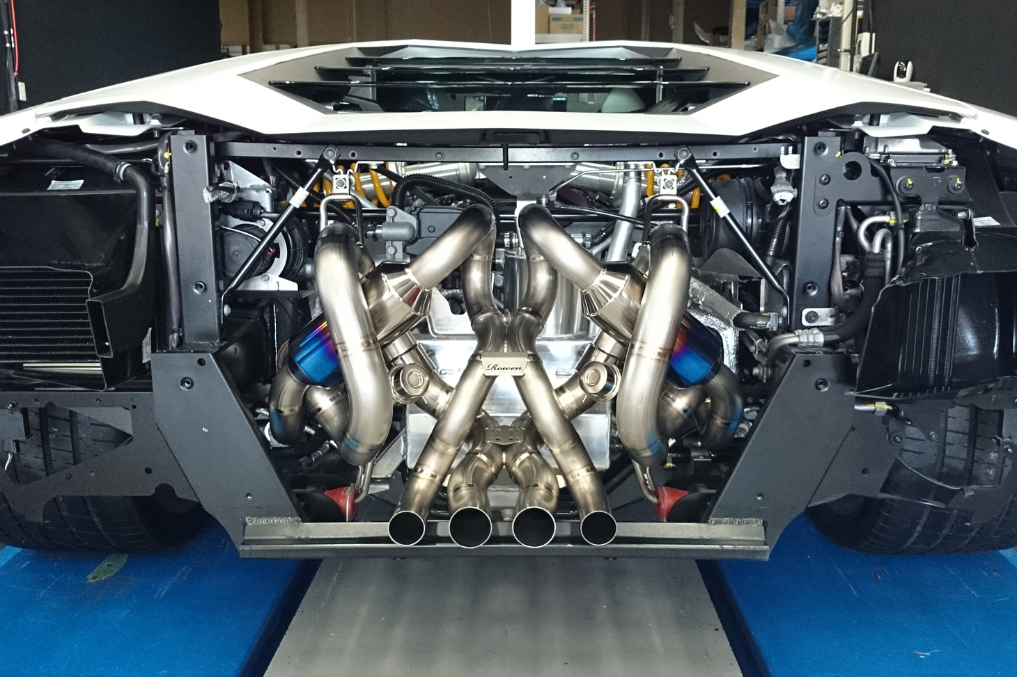 Japanese Custom Aventador Exhaust Is Complicated Blue And