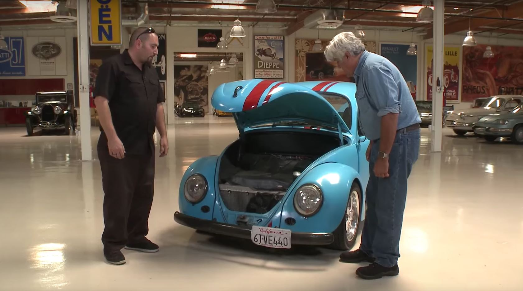 Jay Leno Checks out VW Beetle with RX-7 Rotary Engine