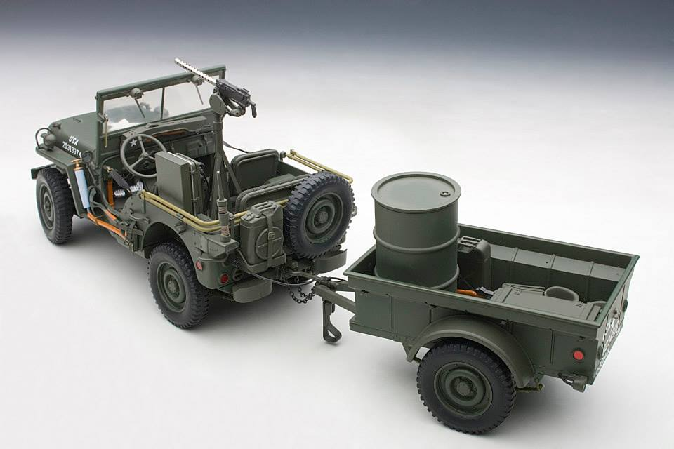 jeep willys scale model shows trailer full of artillery. Black Bedroom Furniture Sets. Home Design Ideas