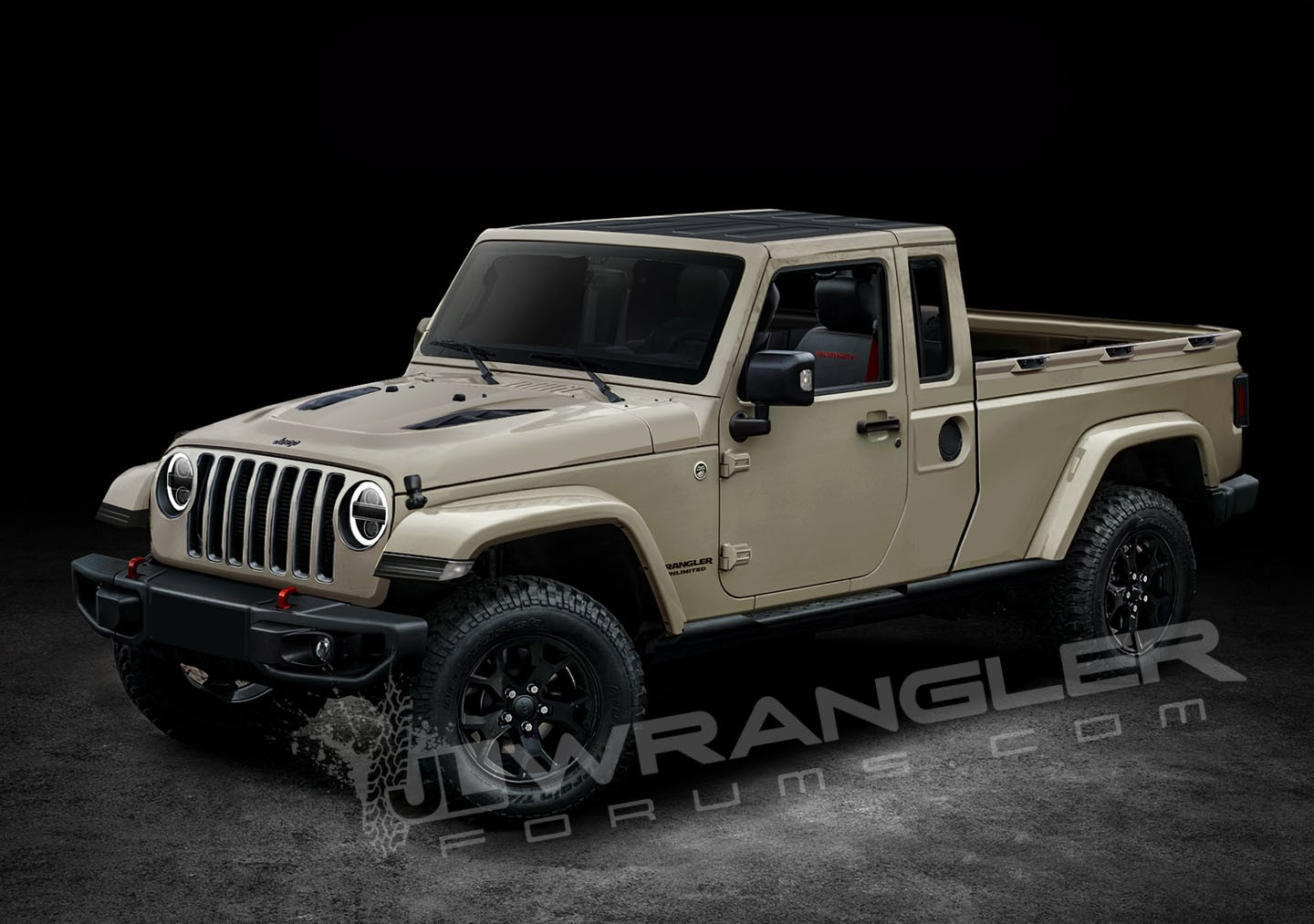jeep wrangler pickup truck rendered based on spyshots two. Black Bedroom Furniture Sets. Home Design Ideas