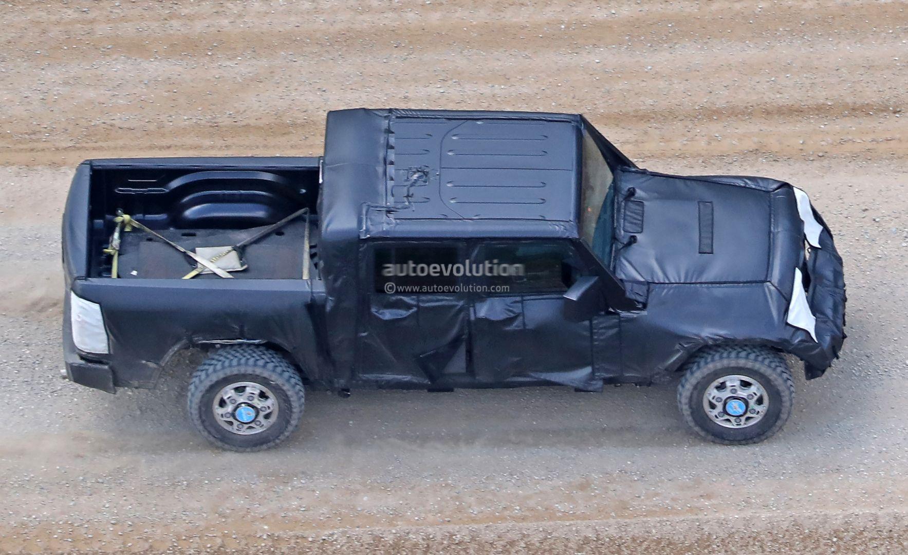 jeep wrangler pickup truck spied
