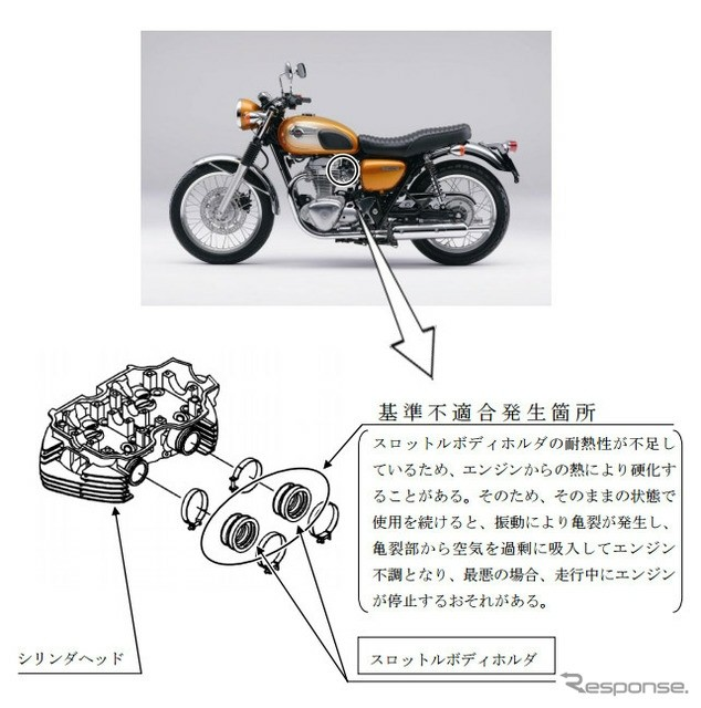 kawasaki recalls w800 neo-retro bikes for potential engine