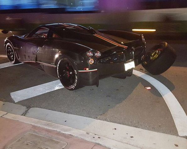 kris singh's pagani huayra la monza lisa crashes in miami