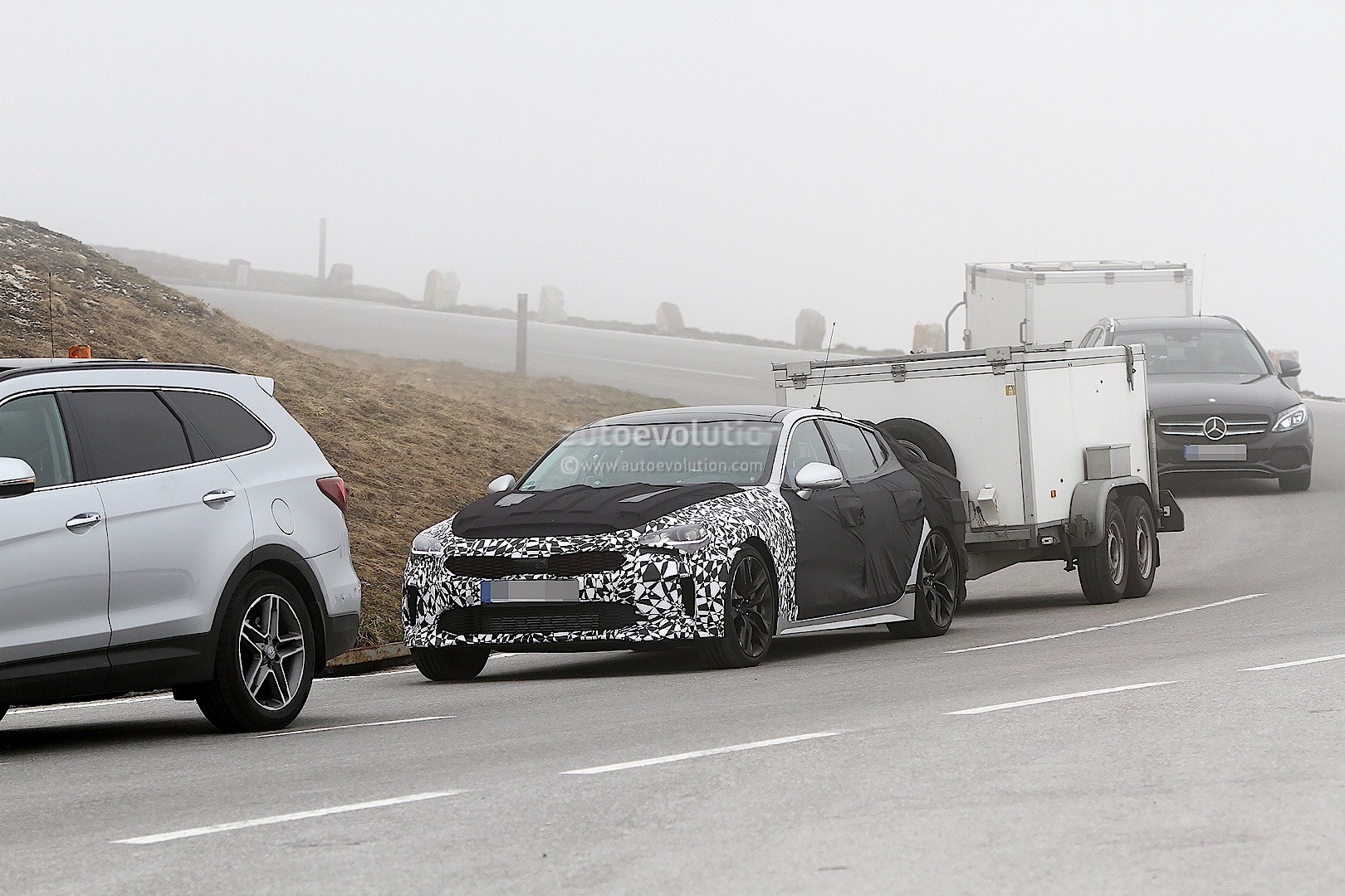 2018 Kia GT Spied Towing Cargo Trailer in the Alps ...