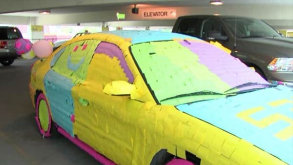 KS Police Car Covered in Sticky Notes - autoevolution 2015 Police Charger