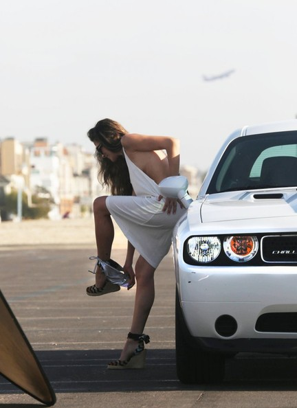 La Model Bo Osinski Poses With A Dodge Challenger
