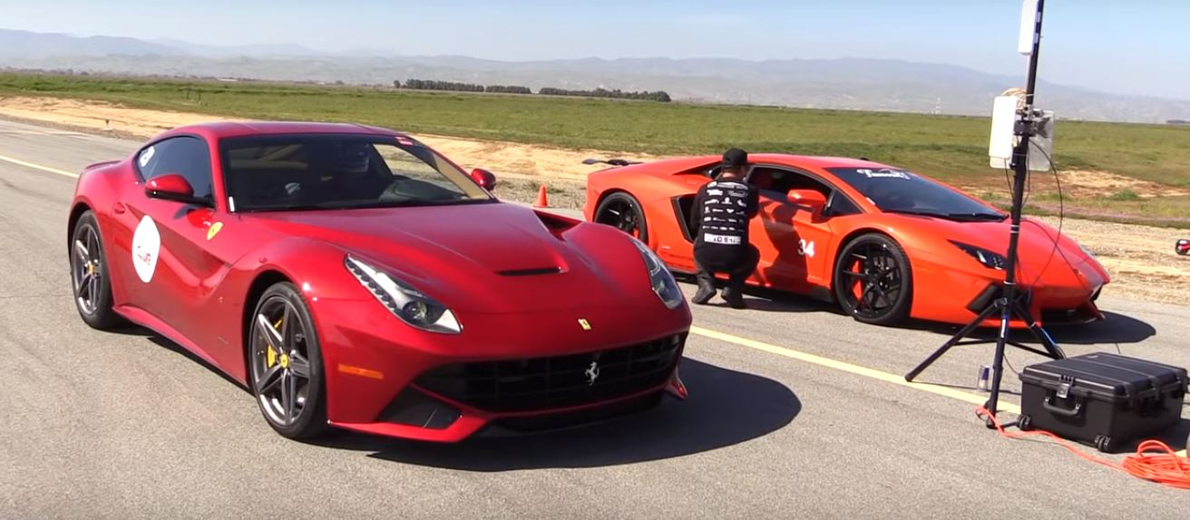 Lamborghini Aventador Vs Ferrari F12 1 2 Mile Drag Race Is