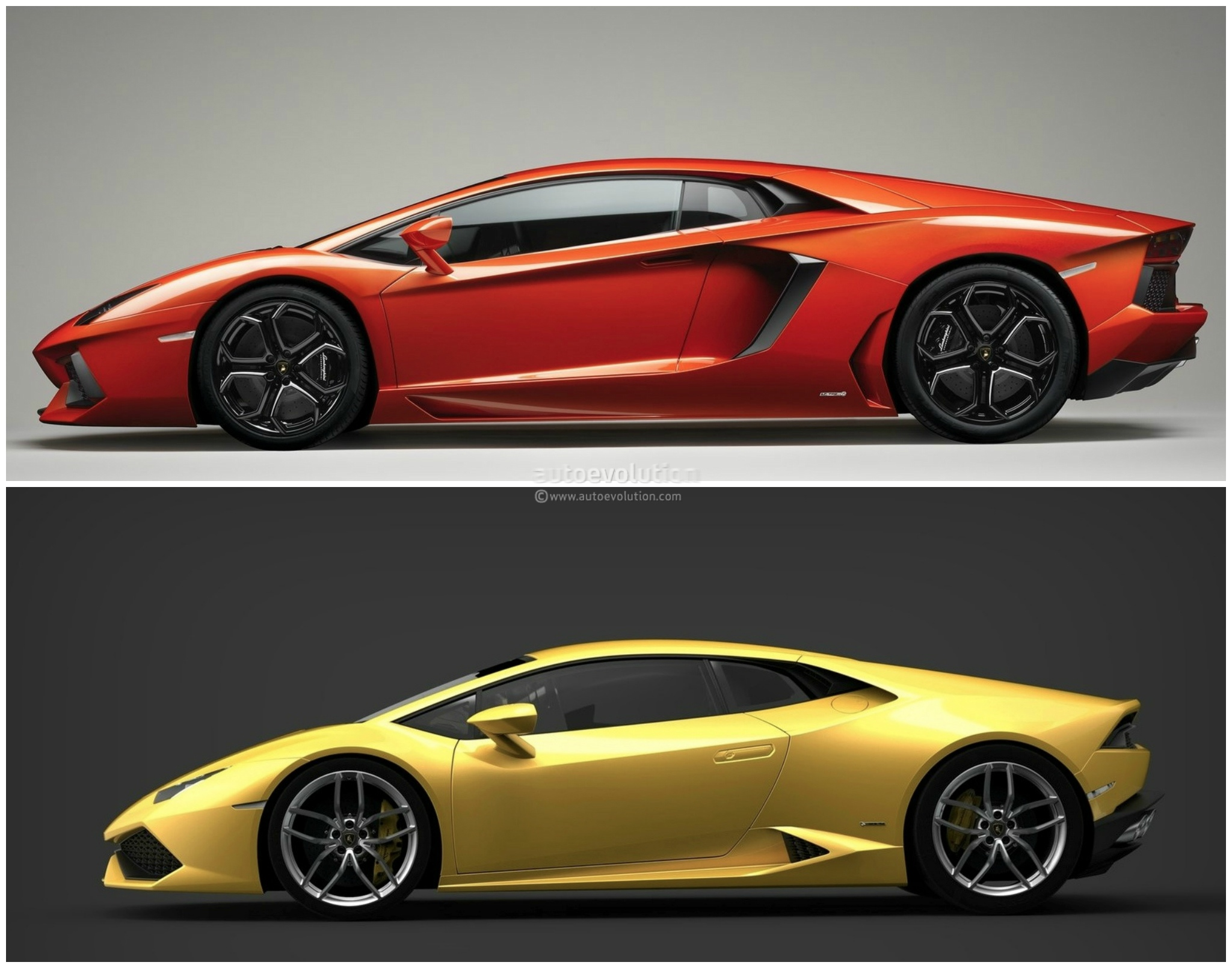 ... Lamborghini Huracan Vs Lamborghini Aventador Comparison: Side View ...