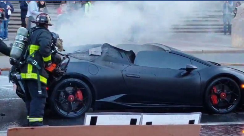 Lamborghini Huracan Performante Spyder Burns In Boston Fire Crew