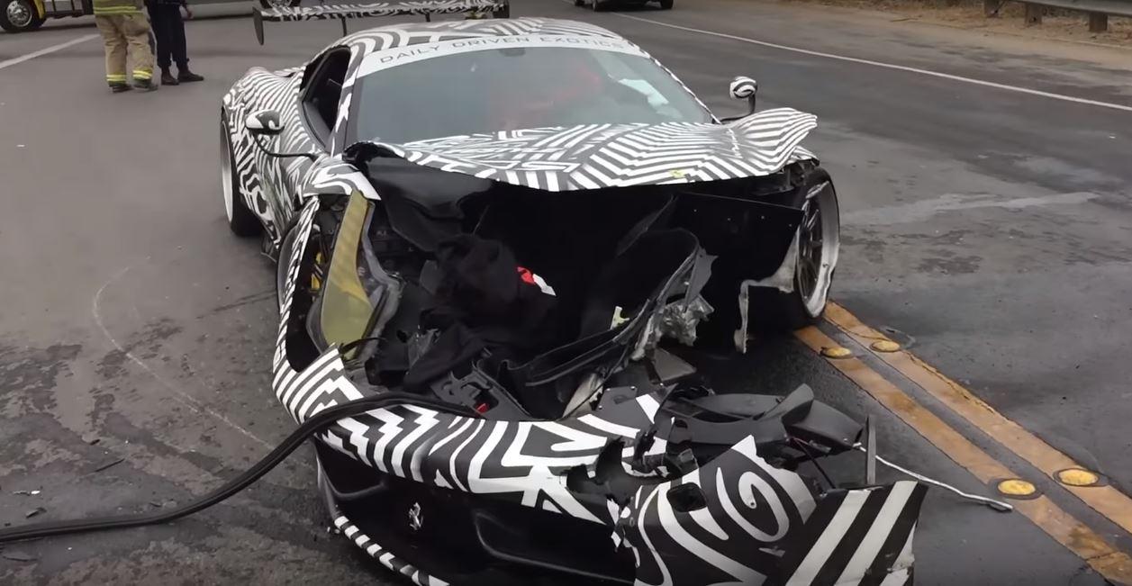 Liberty Walk Ferrari 458 Crash Rips Supercar S Face Off In Monterey Autoevolution