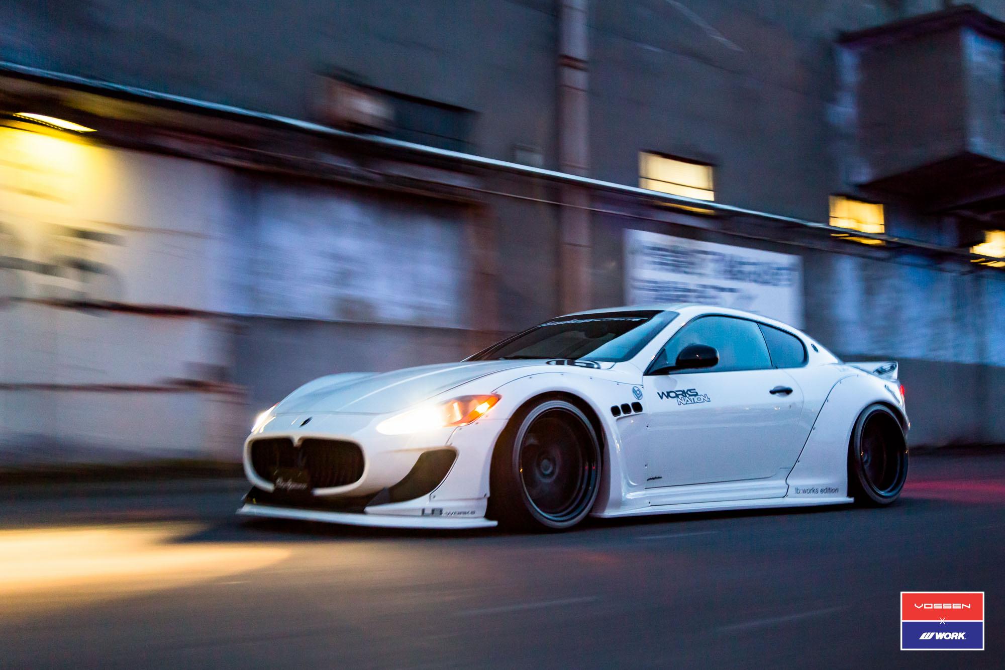 Liberty Walk Maserati Granturismo In White Gets Custom Stance And Vossen Wheels Autoevolution