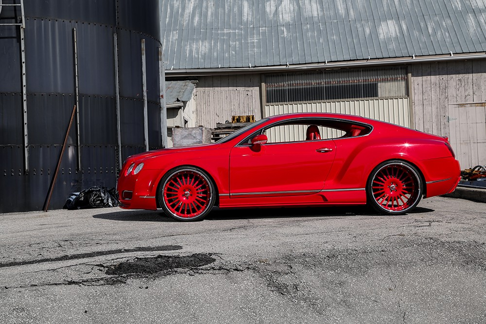 Lipstick Red Bentley Gt Sports Widebody Kit And Forgiato