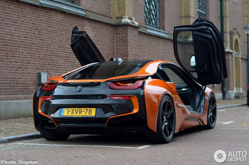 Manharts Bmw I8 Wrapped In Orange And Black Spotted In The