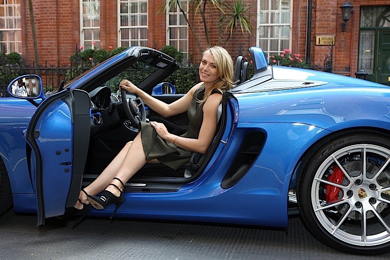 Maria Sharapova in her Porsche Spyder