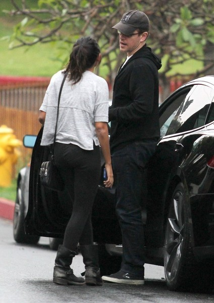 Matt Damon Lets Step Daughter Drive His Tesla Model S To A