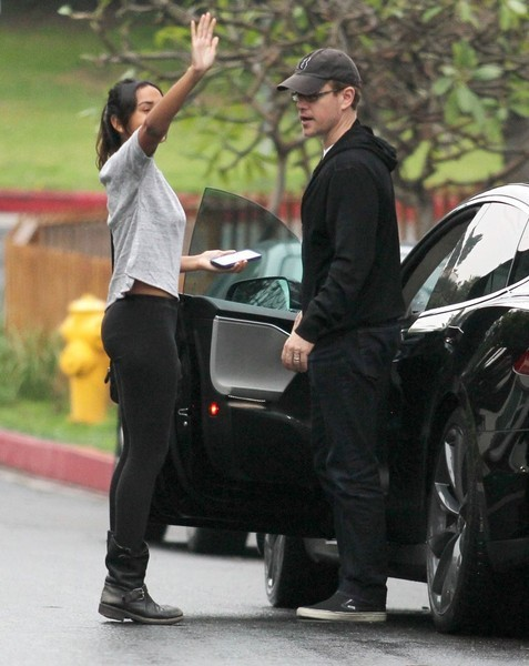 Matt Damon Lets Step Daughter Drive His Tesla Model S To A Party Then Takes The Wheel