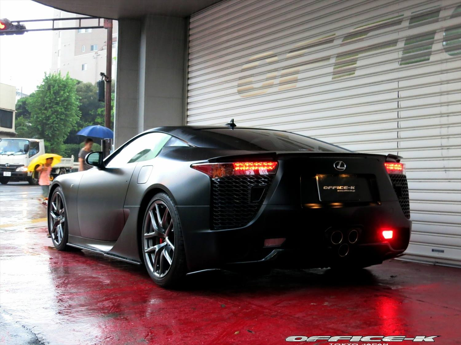matte black lexus lfa by office k video autoevolution. Black Bedroom Furniture Sets. Home Design Ideas