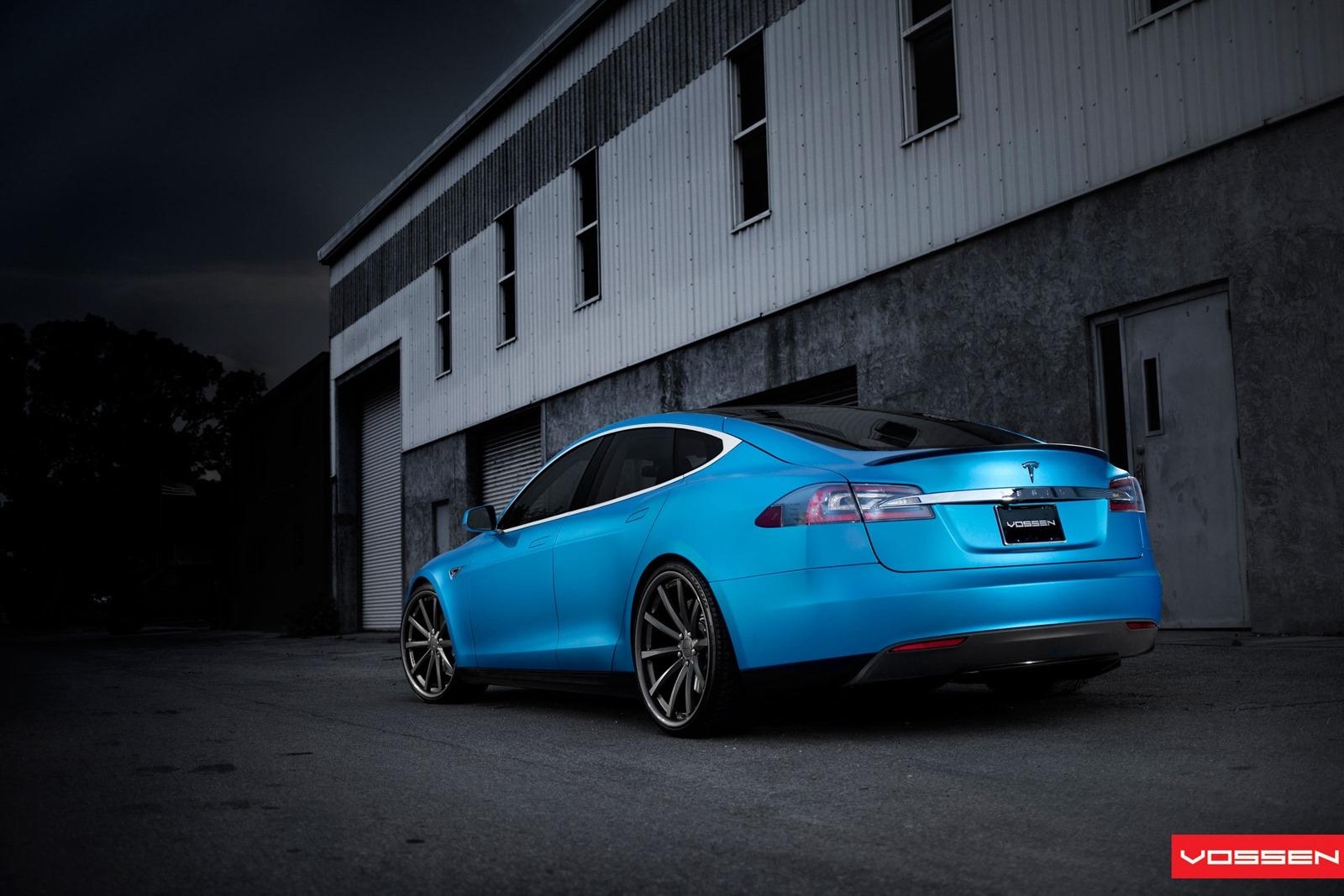 Matte Blue Tesla Model S On 22 Inch Vossen Wheel
