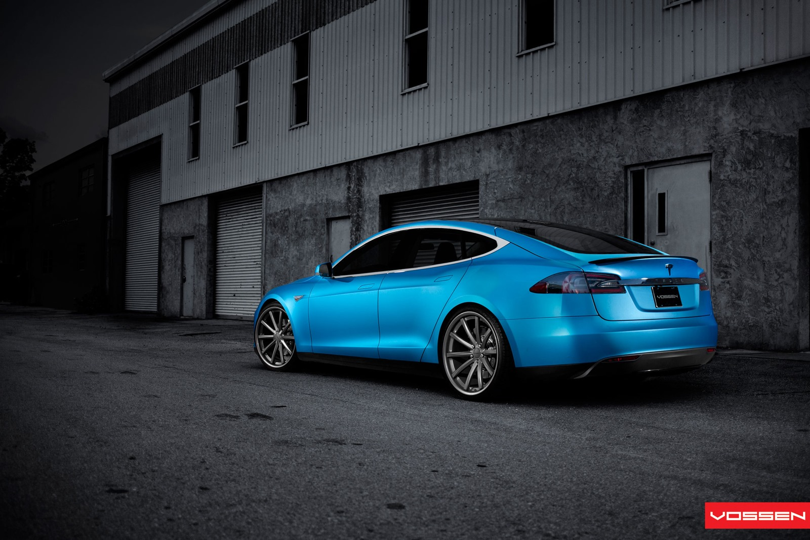 matte blue tesla model s on 22 inch vossen wheel. Black Bedroom Furniture Sets. Home Design Ideas