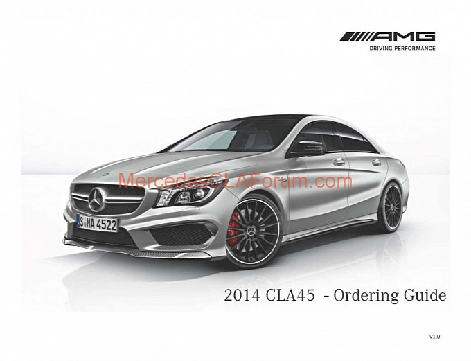2014 Mercedes CLA45 AMG US order guide